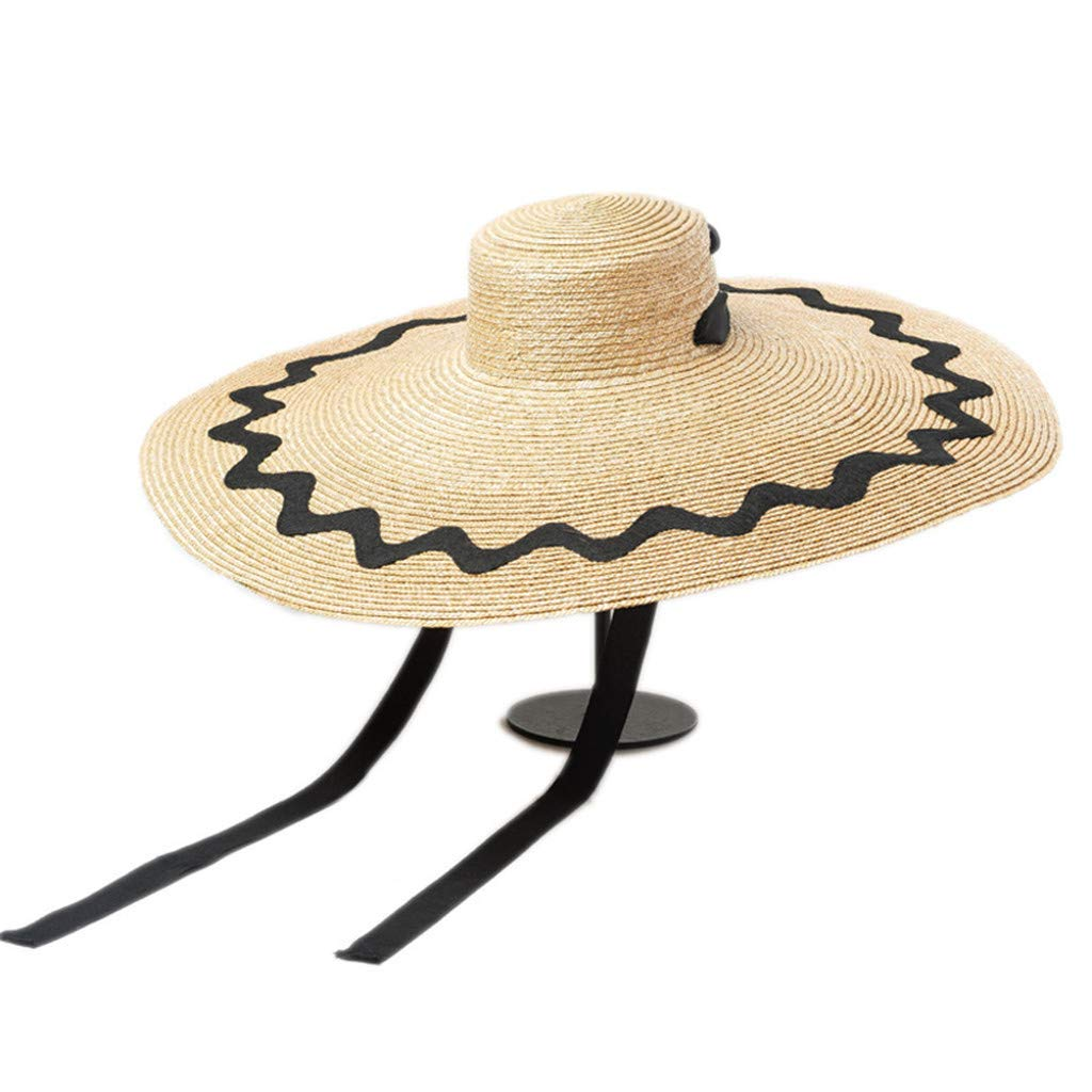 Meidexian888 Beach Large Sun Hat with Lanyard,Outdoor Anti-UV Sun Protection Foldable Straw Cap Cover