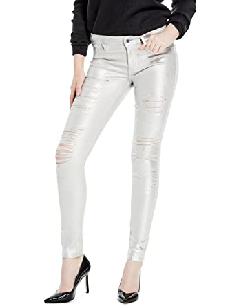 c6d9e4eada9 GUESS Metallic Ripped Skinny Jeans Metallic Silver Size 26 at Amazon  Women's Jeans store
