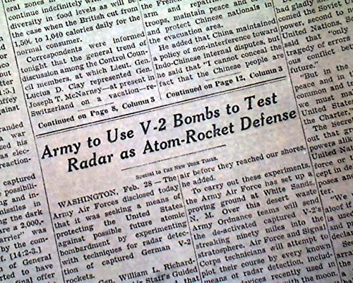 (V-2 ROCKET Stratosphere Radar Testing White Sands NM New Mexico 1946 Newspaper THE NEW YORK TIMES, March 1, 1946)