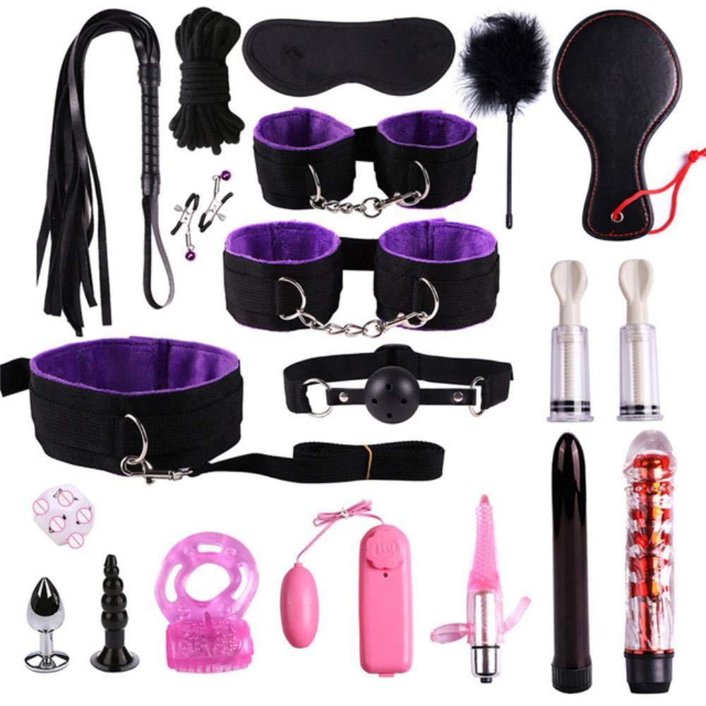 Craige 23 Pcs Sex Toys for Woman Adult Games Handcuffs Whip Mouth Gag Rope Metal Butt Plug BDSM Bondage Set Bead Anal Plug Vibrator,Black Purple 20pcs