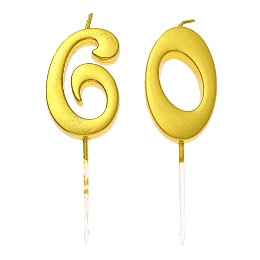 Amosfun 2 Piezas 60 número de Vela de cumpleaños Pastel de ...