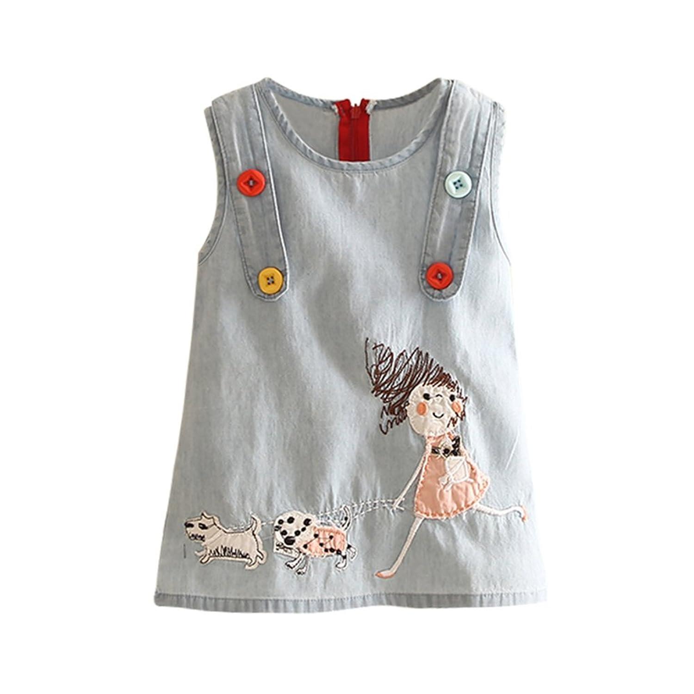 LittleSpring Little Girls Dress Sleeveless Embroidered
