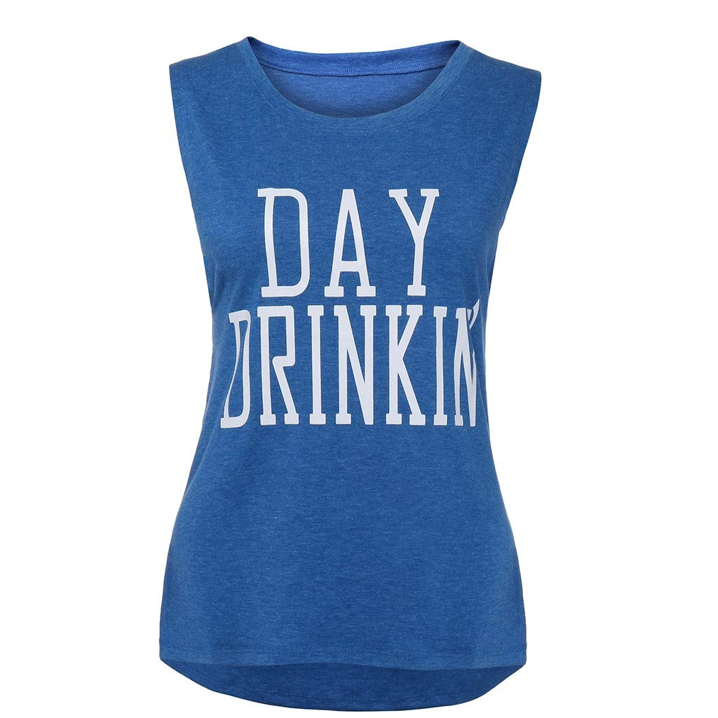 Tank Tops for Women Sleeveless Letter Print Summer Slim Fit Casual T-Shirt Top Blouse (S, Blue)