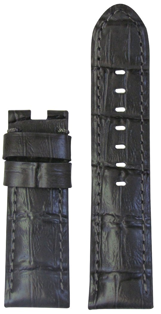 24mm XL Panatime Grey Genuine Leather Gator Watch Band with Match Stitching to fit Original Panerai Deploy Buckle 24/22 125/85