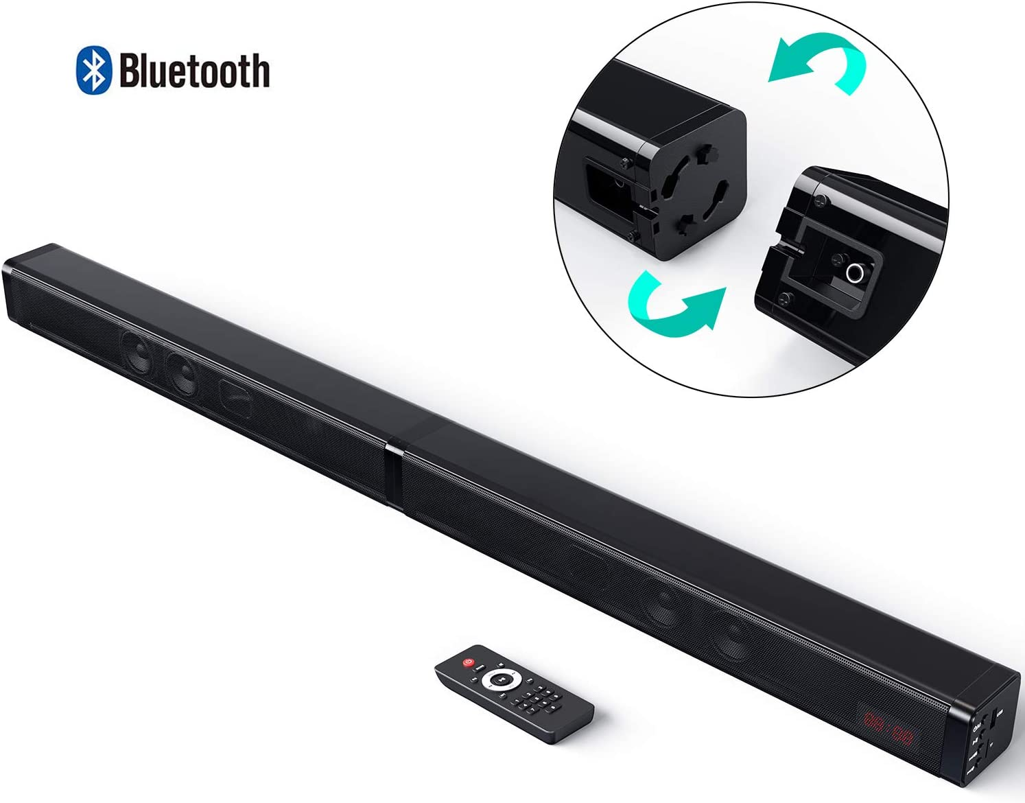 34 Inch Wired /& Wireless Bluetooth 5.0 Wall Mountable Bomaker Sound Bar 150W 2.1 Channel TV Soundbar with Wirless Subwoofer Bass Adjustable Surround Home Theater System Optical//Aux//USB//Coaxial