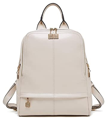 4cc9067ed Amazon.com: BOYATU Genuine Leather Backpack Purse for Women Fashion Travel Rucksack  Ladies Daypack (Beige): Shoes