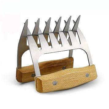Mango de madera Metal Carne Garras 2 piezas con pinzas de acero inoxidable barbacoa juego de pinza para trituradora de carne tenedor barbacoa herramientas: ...