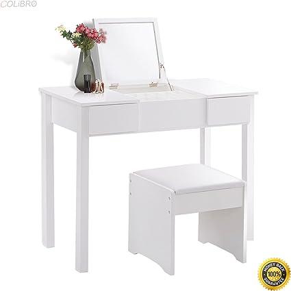 Amazon.com: COLIBROX--White Vanity Dressing Table Set ...