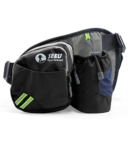 f4843275df5a SEEU Multipurpose Waist Bag for Men and Women, Sports Travel Hip Bag with  Water Bottle Holder and Cell Phone Pocket