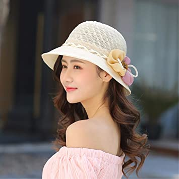 LIUXINDA-MZ Flor de verano sombrero sombrero de paja plegable sombrero de  sol playa máscara sombrero sombrero de marea 57d7b7b10c8