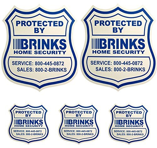 2 Home Security Yard Signs w/ 3 Security Stickers for Doors and ()