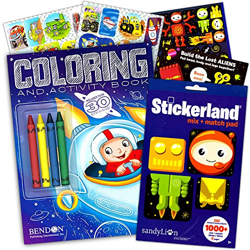 Outer Space Coloring Book Super Set Kids -- Coloring and Activity Book with Space Stickers and Jumbo Toddler (Space Activities For Kids)