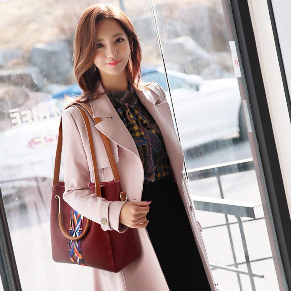 Dammode PU-läder handväska + axelväska + handväska + korthållare 4 st set tygväska stor kapacitet vardaglig tygkompositväska Röd