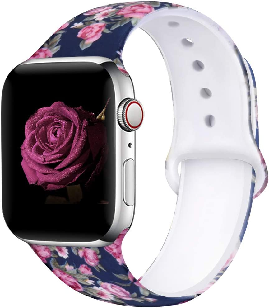 EXCHAR Compatible with Apple Watch Band 44mm 42mm Fadeless Pattern Printed Floral Bands Silicone Replacement Band for iWatch Series 5 Series 4/3/2/1 for Women Men S/M Flower J04