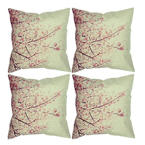Cherry Blossom Pillows (Luxbon Set of 4Pcs Beautiful Cherry Blossoms Cotton Linen Home Decorative Throw Pillow Cases Living Room Sofa Cushion Covers 18 x 18