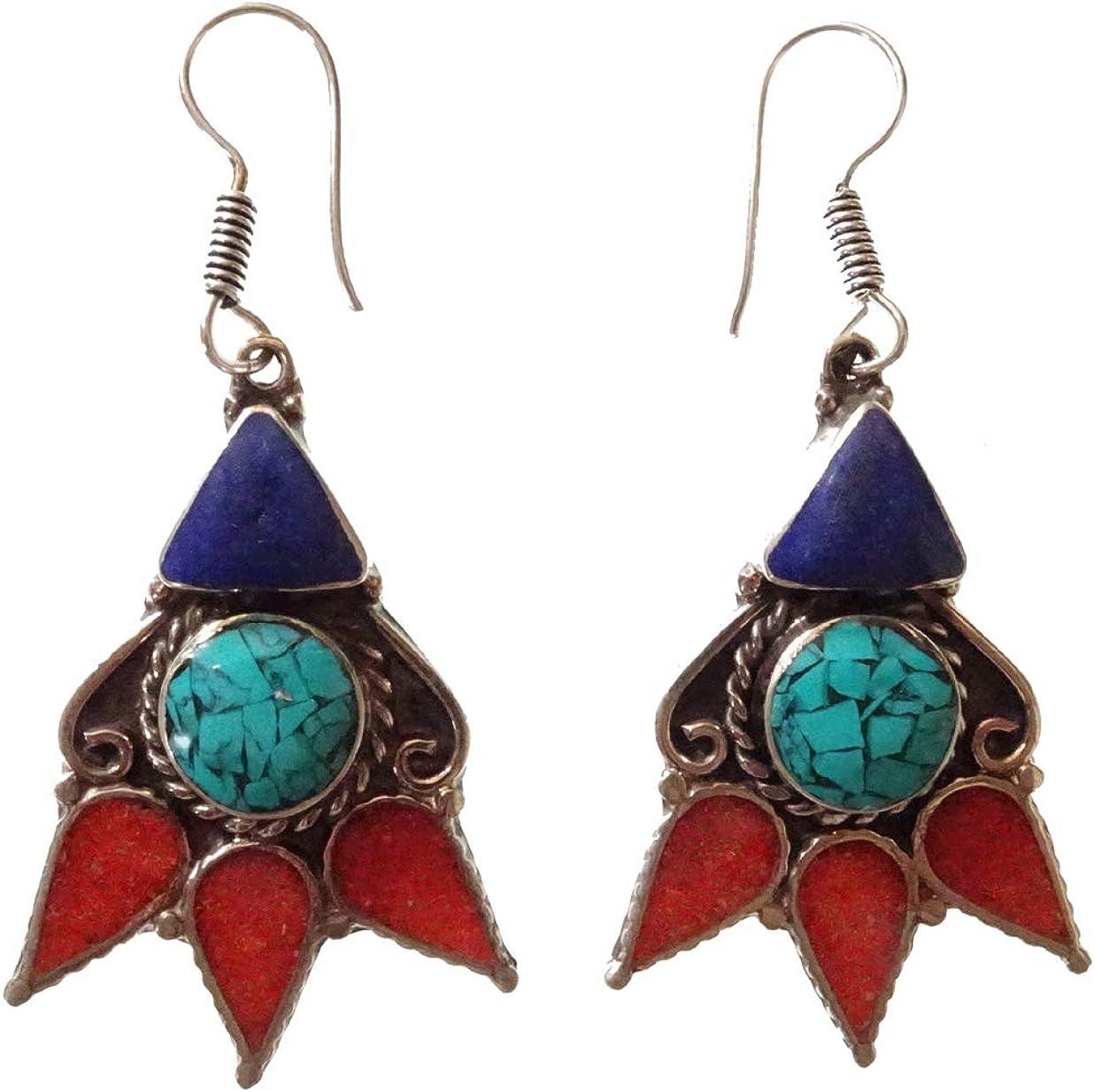 Pendiente tibetano para las mujeres hecho a mano oxidado plateado Boho étnico antiguo piedras preciosas turquesa Lapis Coral budista bohemio novedad pendiente joyería de moda