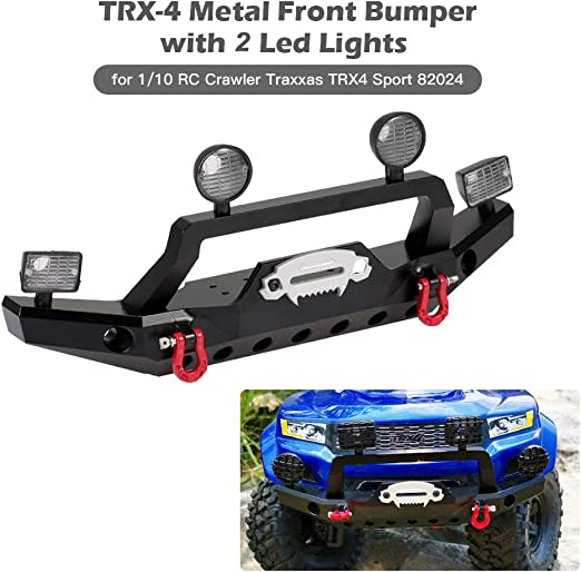 ZuoLan Metal Front Bumper with LED Headlights Towing Shackles for Traxxas TRX4 1:10 RC Vehicles Crawler Car