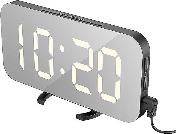 Lumi/ère de Nuit Double Ports USB Charger Luminosit/é R/églable R/éveil Num/érique /Écran LED de 6,5 pouces Miroir Horlogue Digital R/éveil de Chevet R/éveil Matin Miroir Maquillage Fonction Snooze