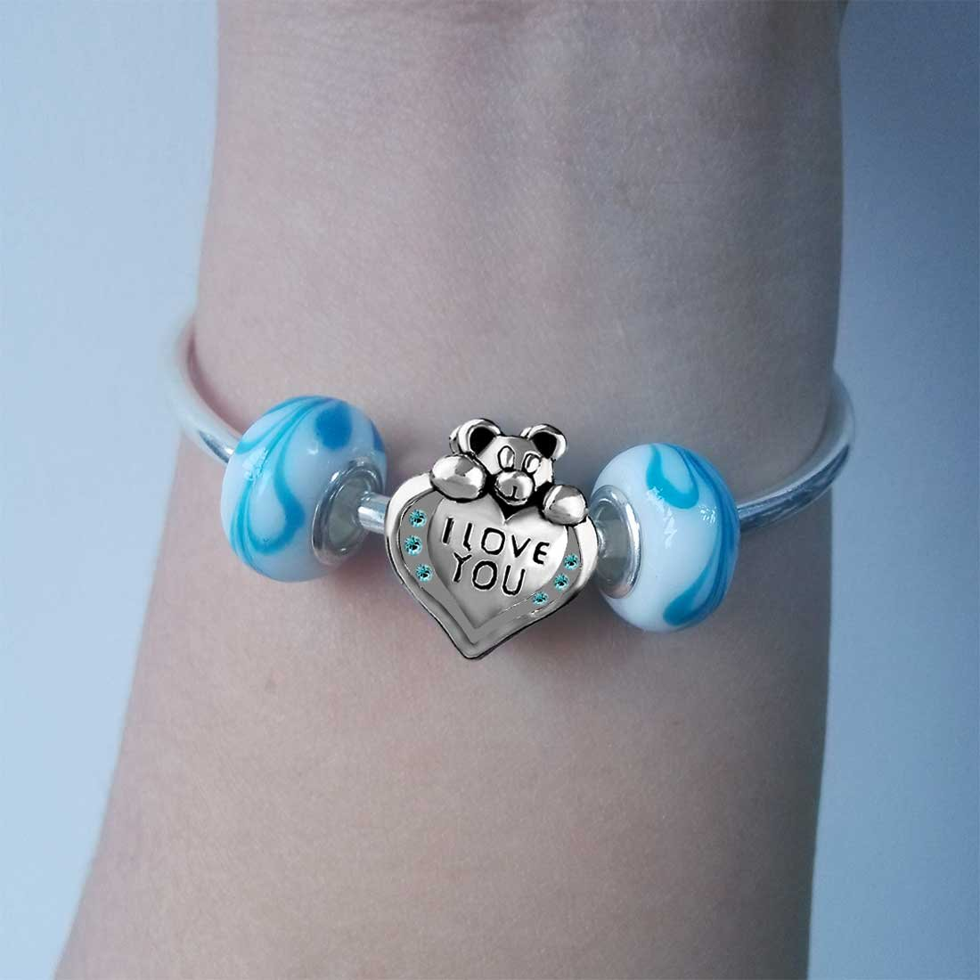 GiftJewelryShop Dachshund Dog with Bone Blue Aquamarine Crystal March Birthstone I Love You Heart Care Bear Charm Bracelets