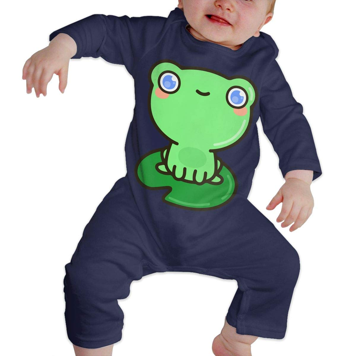 Mri-le1 Newborn Baby Organic Coverall Cute Frog 1 Baby Rompers