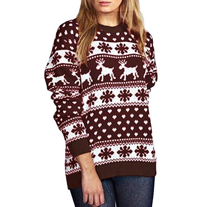 Elecenty Christmas Pullover Bluse Tops Damen Weihnachten Blumen Drucken Langarm  Sweatshirt Cute Hemd Mantel Weihnachtspullover Rentier 21e6a049fe