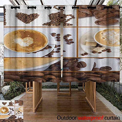 AndyTours Sliding Door Curtain,Kitchen,Coffee Themed Collage of Beans Mugs Hot Foamy Drink with a Heart Macro Aroma Photo,Simple Stylish,K183C183 Brown White]()