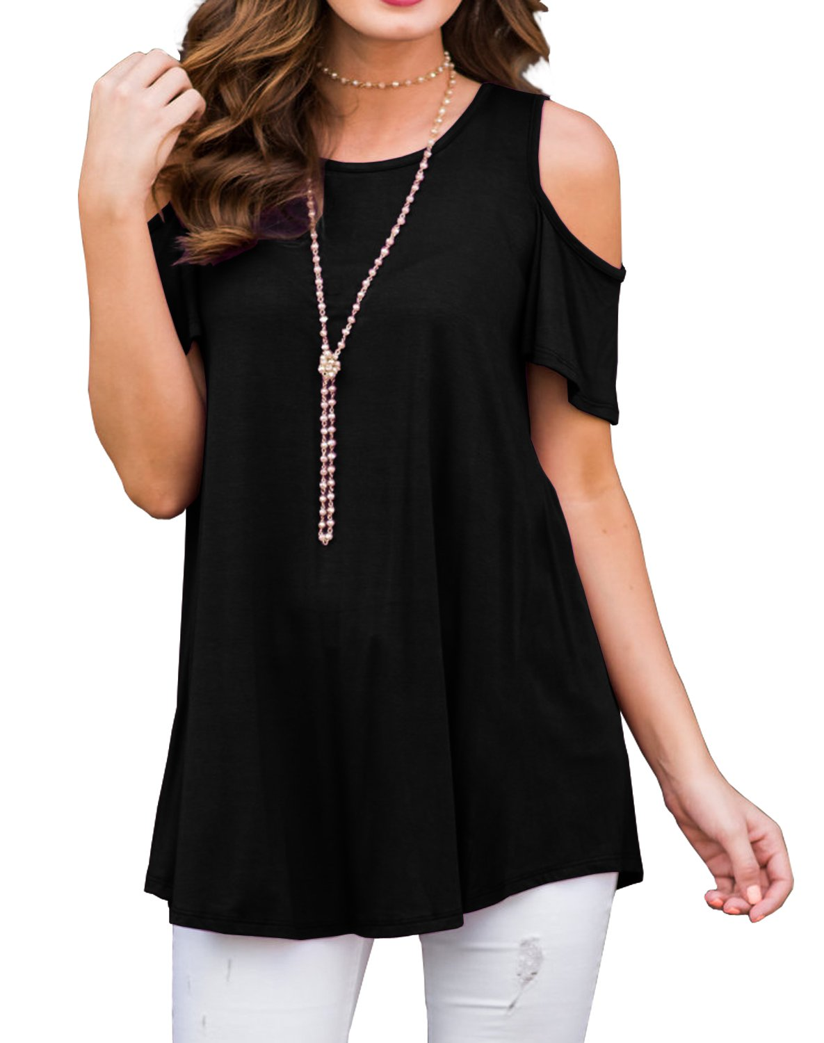 PrinStory Women's Short Sleeve Casual Cold Shoulder Tunic Tops Loose Blouse Shirts Black-XL