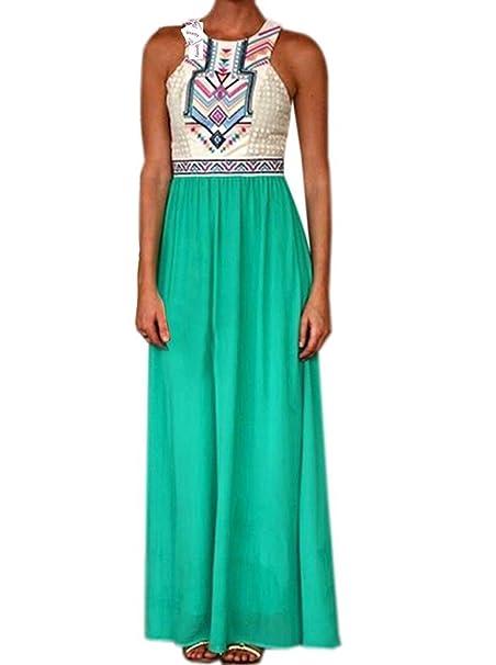 Vestidos Largos De Verano Mujer Moda Casual Gasa Splicing Vestido Playa Elegantes Sin Mangas Cuello Redondo Impresión Talle Alto Vestidos De Fiesta Dresses ...