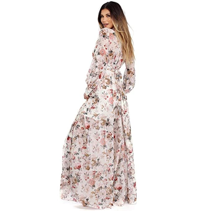 Gaddrt Women V Neck Long Sleeve Chiffon Floral Long Maxi Evening Party Dress Beige: Amazon.co.uk: Sports & Outdoors