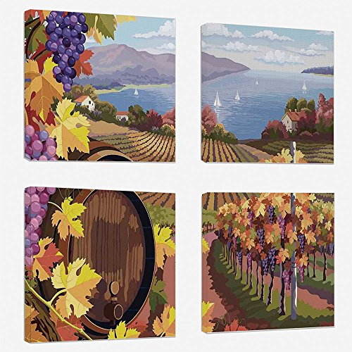 4pcs/Set Modern Painting Canvas Prints Wall Art for Home Decoration Winery Decor Print On Canvas Giclee Artwork for Wall DecorCountryside Landscape in Vineyard Agriculture Winemaking Season Grapes in