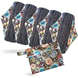 Period Mate Reusable Cloth Menstrual Pads with Bamboo-charcoal Absorbency with Wet Bag (6 Pieces) (Carnival Rings)