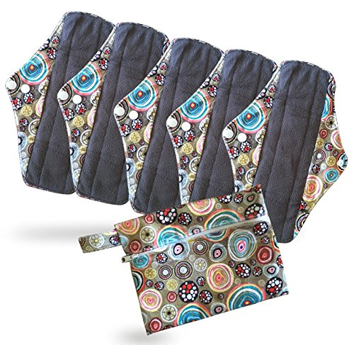 period-mate-reusable-cloth-menstrual-pads-with-bamboo-charcoal-absorbency-with-wet-bag-6-pieces-carn