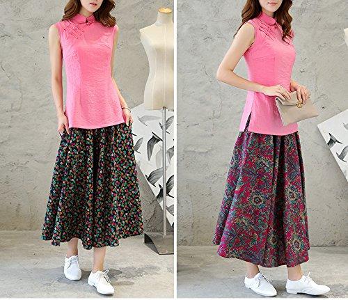 Rosa Canapa 4 Senza Pura Acvip Colori Cinese Cotone Maniche Stile Camicetta v8wqgA5f