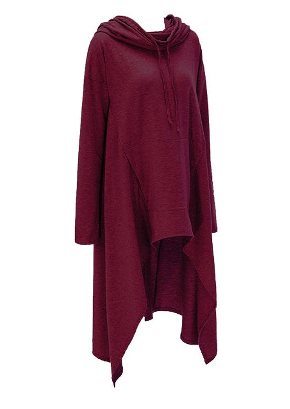 TALLA 3XL. FANTIGO Bolsillos canguro con capucha de las mujeres Pulóver asimétrico Hem sudadera Vestido de la túnica