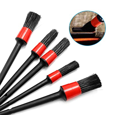 Aynaxcol Detailing Brush Set 5 Pcs in Diferent Size Mixed Fiber Plastic Handle Automotive Detailing Brushes Use for Cleaning Cars, Wheels, Engine, Interior, Air Vent, Motrcycle: Automotive