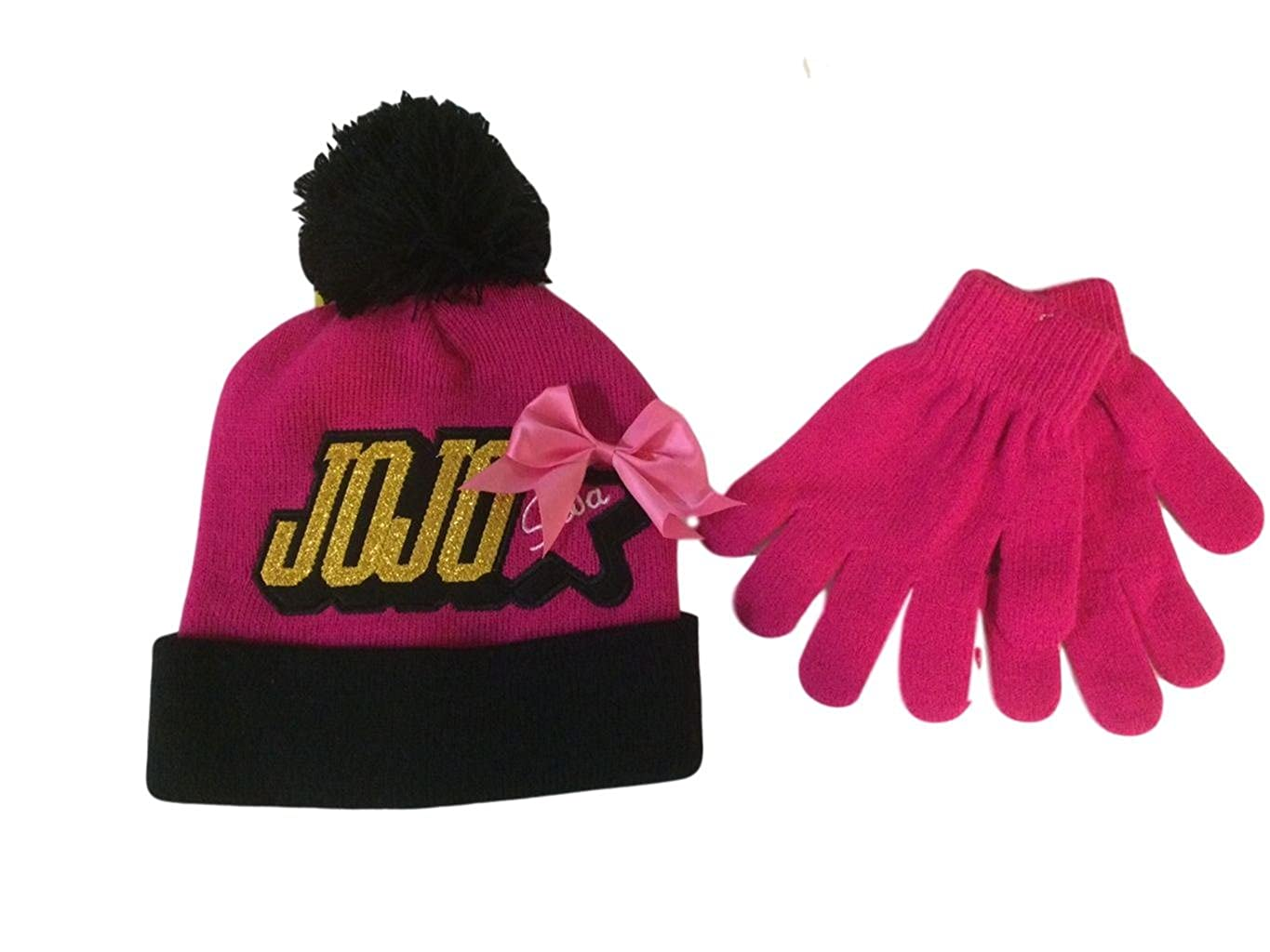 5b564d7d319 Nick Jr JoJo Siwa Knit Beanie Hat and Glove Set Pink Bow Winter Cold  Weather Girls  Amazon.co.uk  Clothing