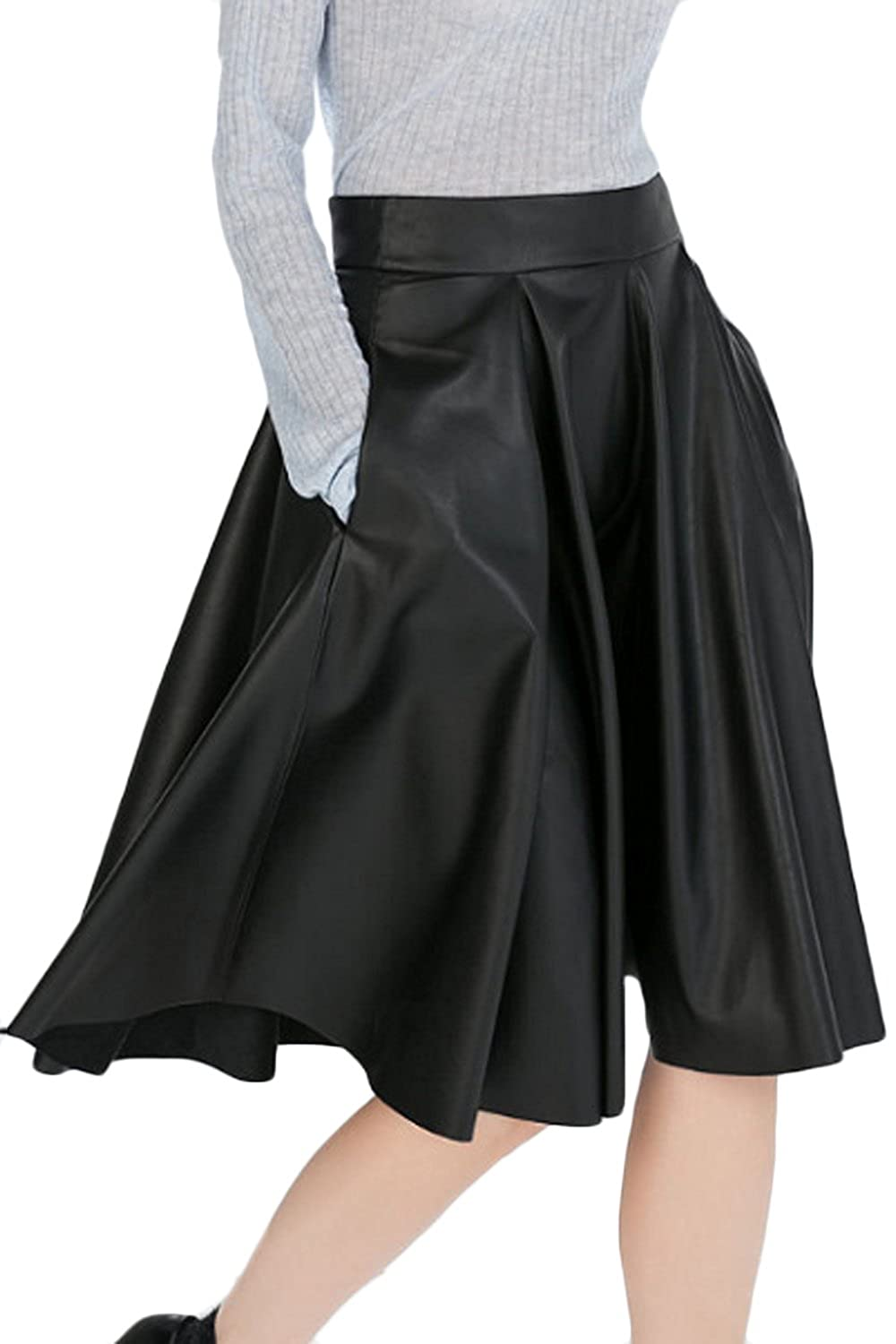 ACHICGIRL Classic Pu Leather Pleated High Waist Skirt