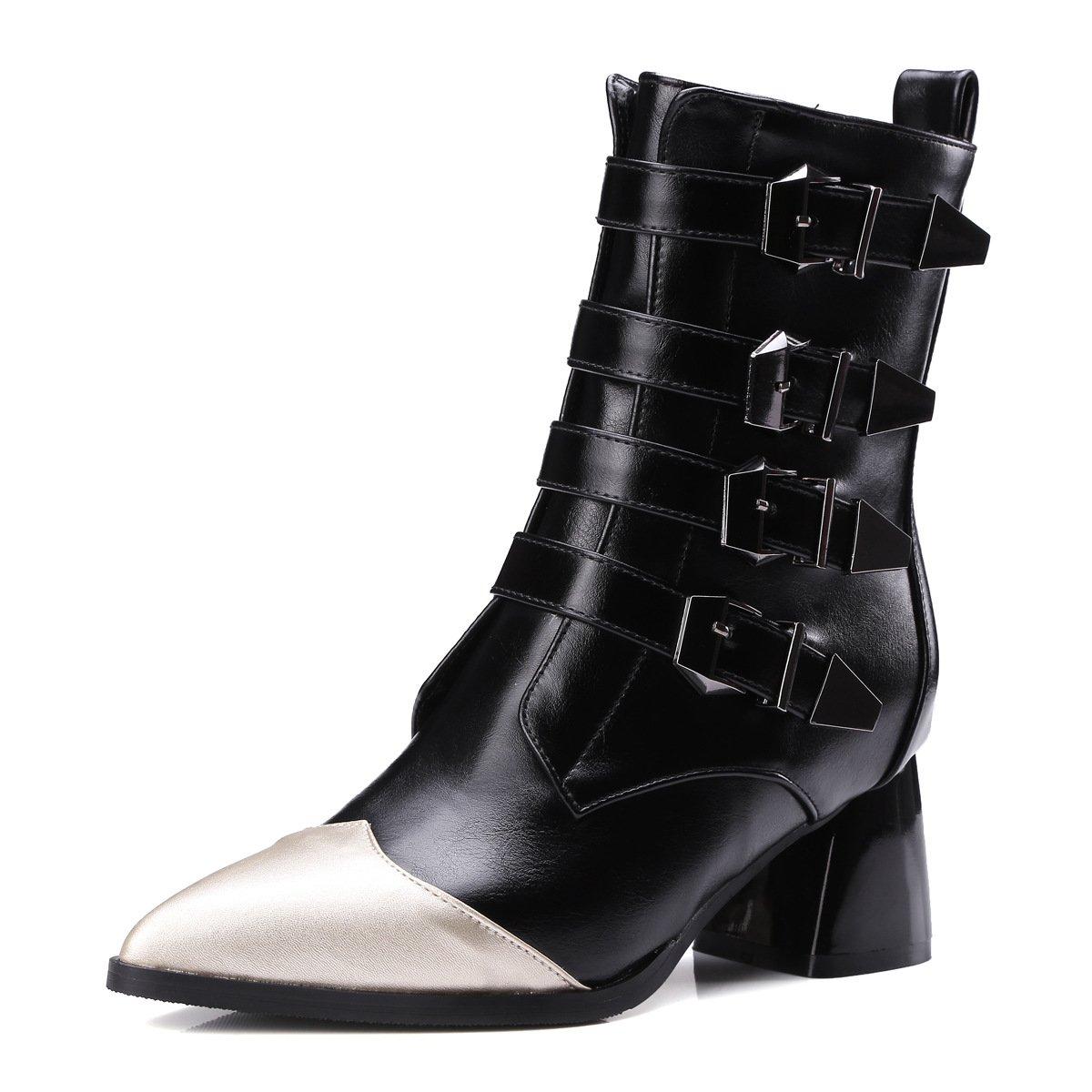 Frauen Martin Schuhe Komfort Chunky Heels Stiefel Herbst Spitz Stich Farbe Bucktie Stiefelie