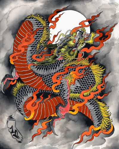 Kali Dragon by Kali Traditional Tattooed Chinese Dragon Fine Art G