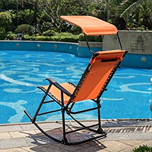 Sundale Outdoor Folding Rocking Lounge Patio Garden Pool Chair with Pillow and Sunshade Canopy, Orange