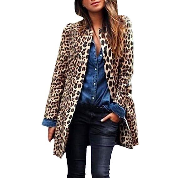 Linlink Mujeres Leopardo Sexy Invierno cálido Viento Abrigo Cardigan Leopardo de impresión Larga Capa