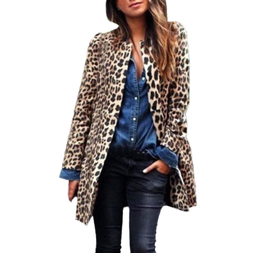 Women's Leopard Print Long Slim Winter Warm Wind Coat Cardigan Trench Coat Rain Jacket (S, Brown)