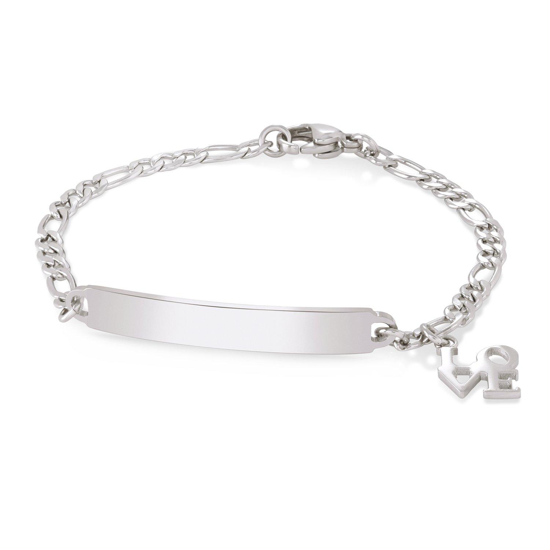 Speidel Children's Identification Bracelet in Silver Tone Love Charm- Stainless Steel Engravable Plaque 00234820