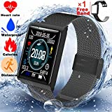 Cheap Fitness Tracker Waterproof IP67 with Heart Rate Monitor Smart Watch for Women Men Kids Outdoor Sports Bluetooth Bracelet with Sleep Monitor Calories Tracker Pedometer Watch Sync Phone for Android iOS