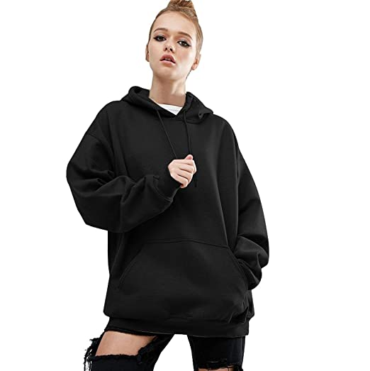 2d81e656ac Fullfun Women Plus Size Drawstring Hoodie With Big Front Pocket (Black, S)