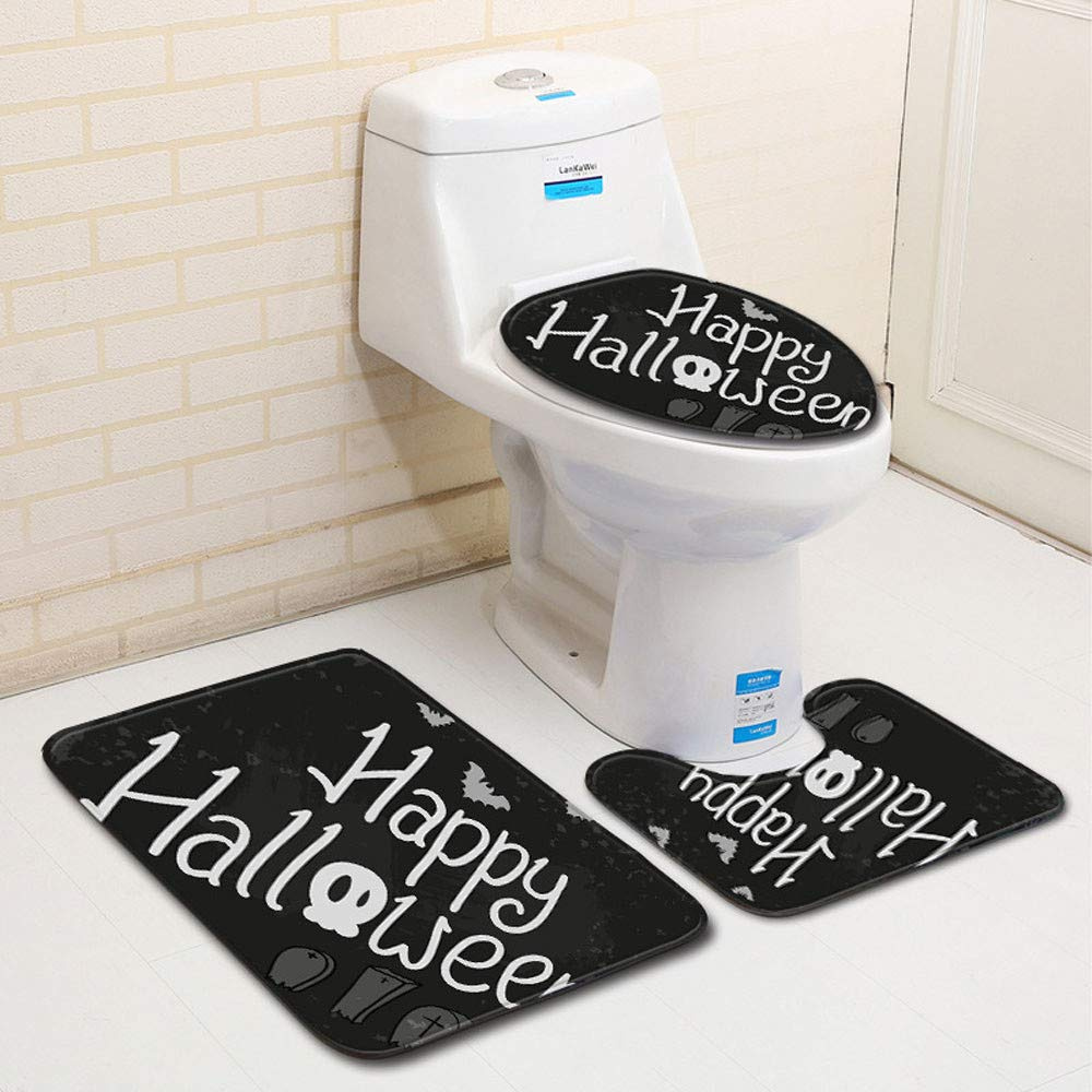 Hunpta 3PCS Toilet Seat Cover and Rug Bathroom Set for Halloween Decor (A) Hunpta@