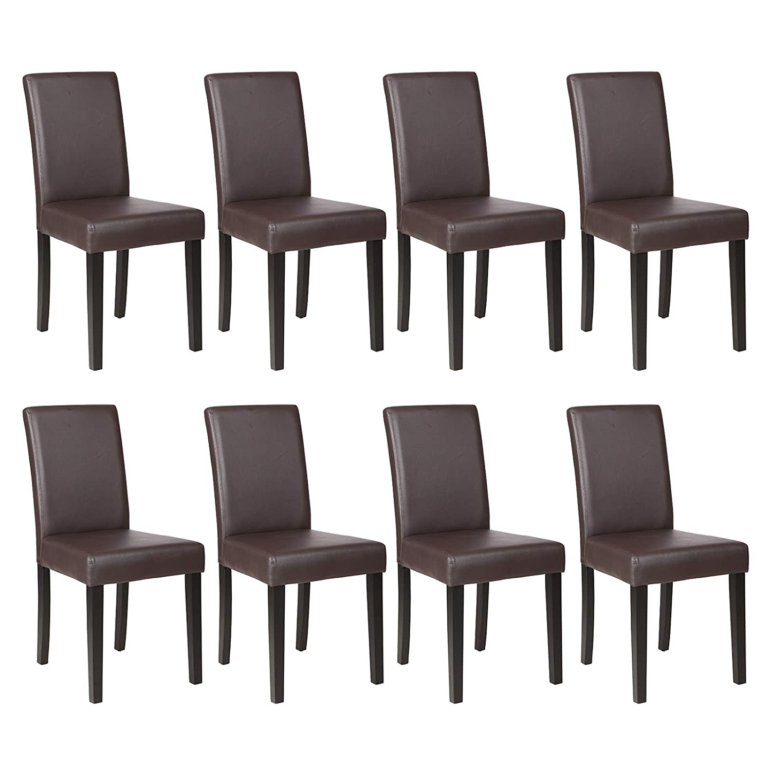Mecor Dining Chairs Set of 8, Kitchen Leather Padded Chair with Solid Wood Legs Dining Room Furniture 8xBrown