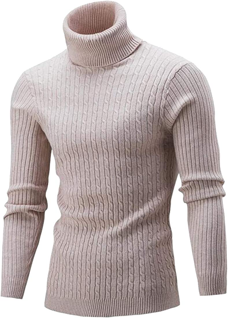 Bravepe Men Fall Winter Slim Knitted Solid Turtle Neck Pullover Sweater Jumper