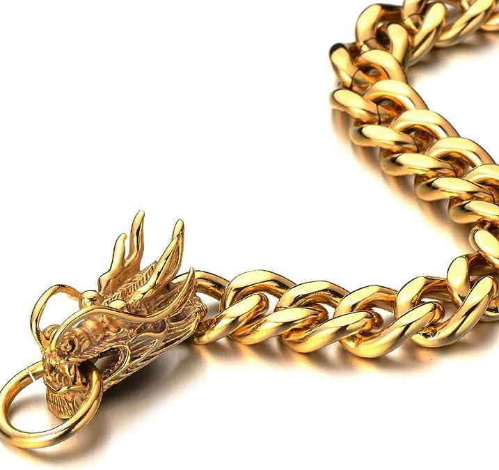 Acier Inoxydable Bracelet Homme Cha/îne Gourmette H+C Style Masculine Poli Mirro Or Bracelet Dragon