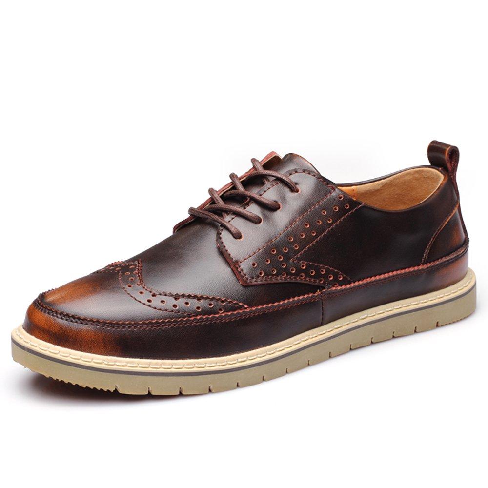 mens oxfords men shoes oxford business shoes brogue shoes brogue shoes men (2031brown43) by YZHYXS